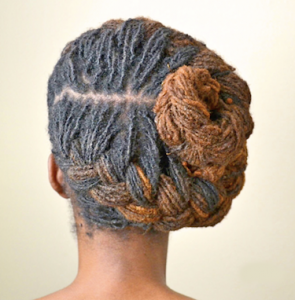 French Braid Bun Hairstyle for Locs